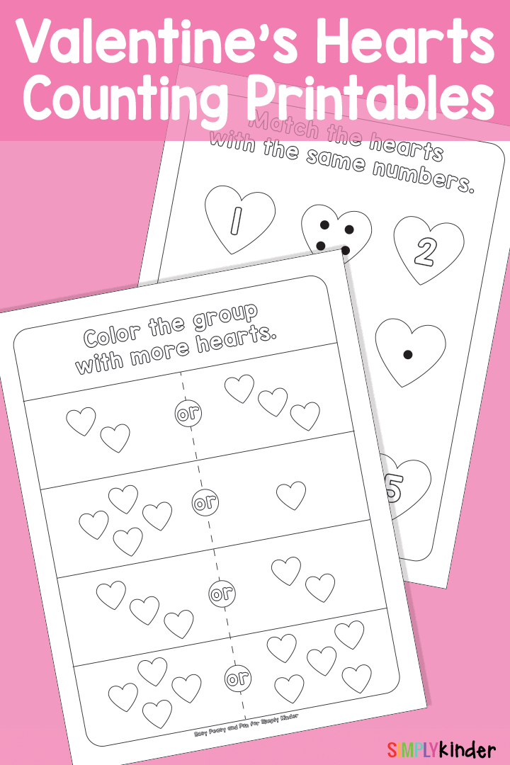 Valentines Hearts Counting Printables