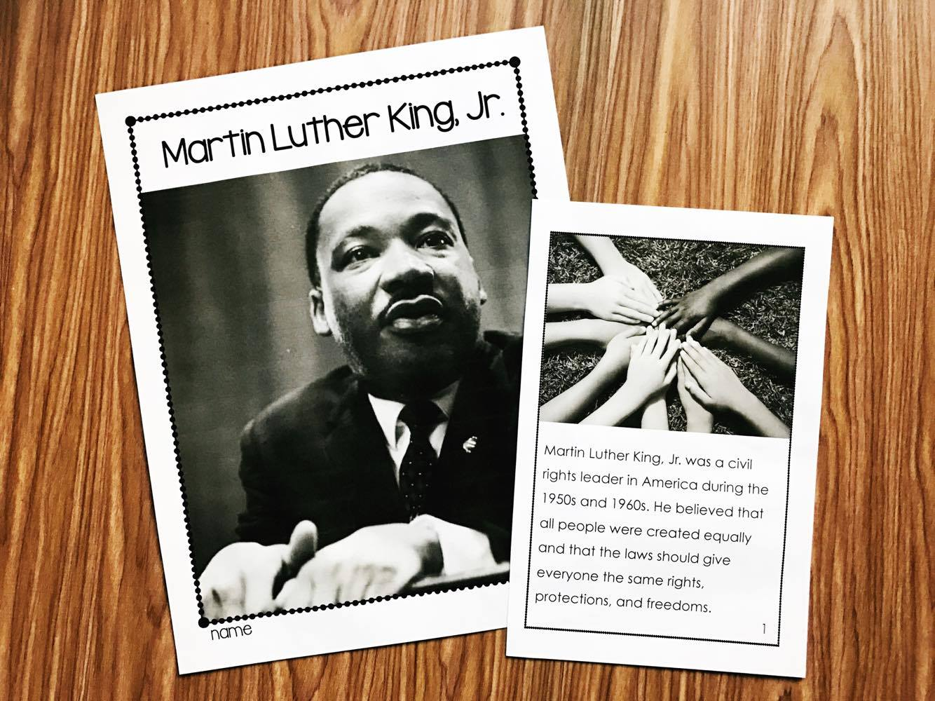 Martin Luther King book with nonfiction pictures.  Comes in full and half size versions and has lots of supplemental writing activities.  Perfect content for kindergarten and first grade students.