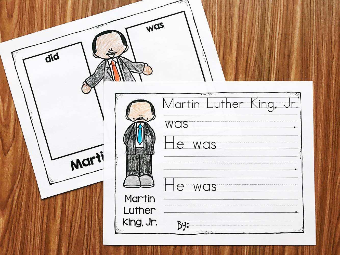 Martin Luther King No Prep Printables.  Learn about MLK and practice essential kindergarten and first grade skills too!