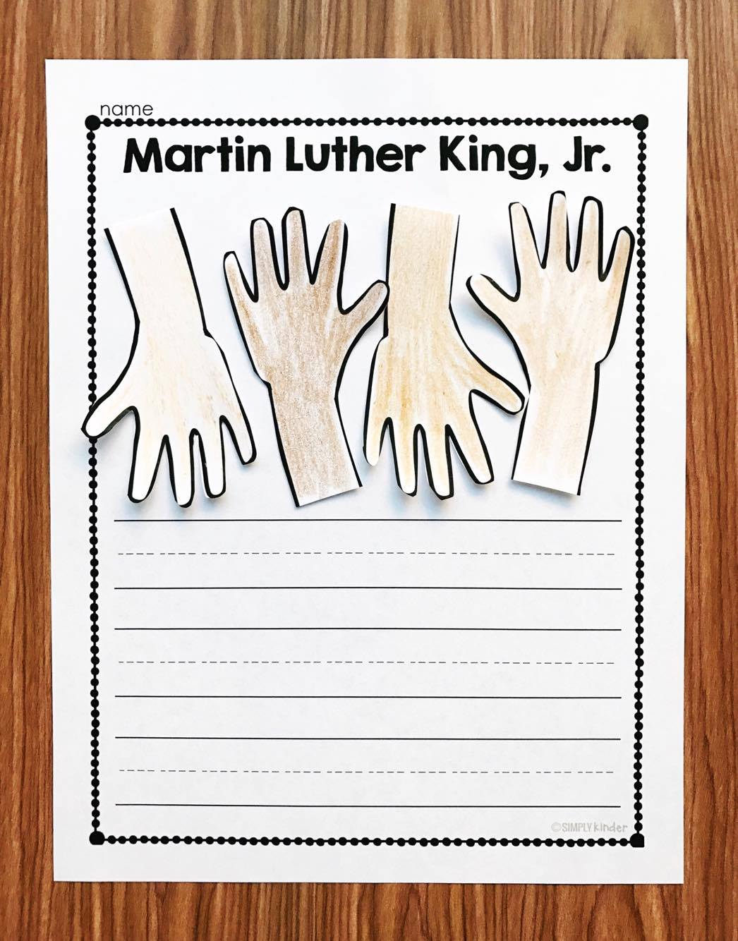 Martin Luther King Craft Story.  Use the graphic organizers to plan a story and then complete the craft as the illustration.  Perfect for kindergarten and first grade students.   (Martin Luther King Kindergarten Printables)