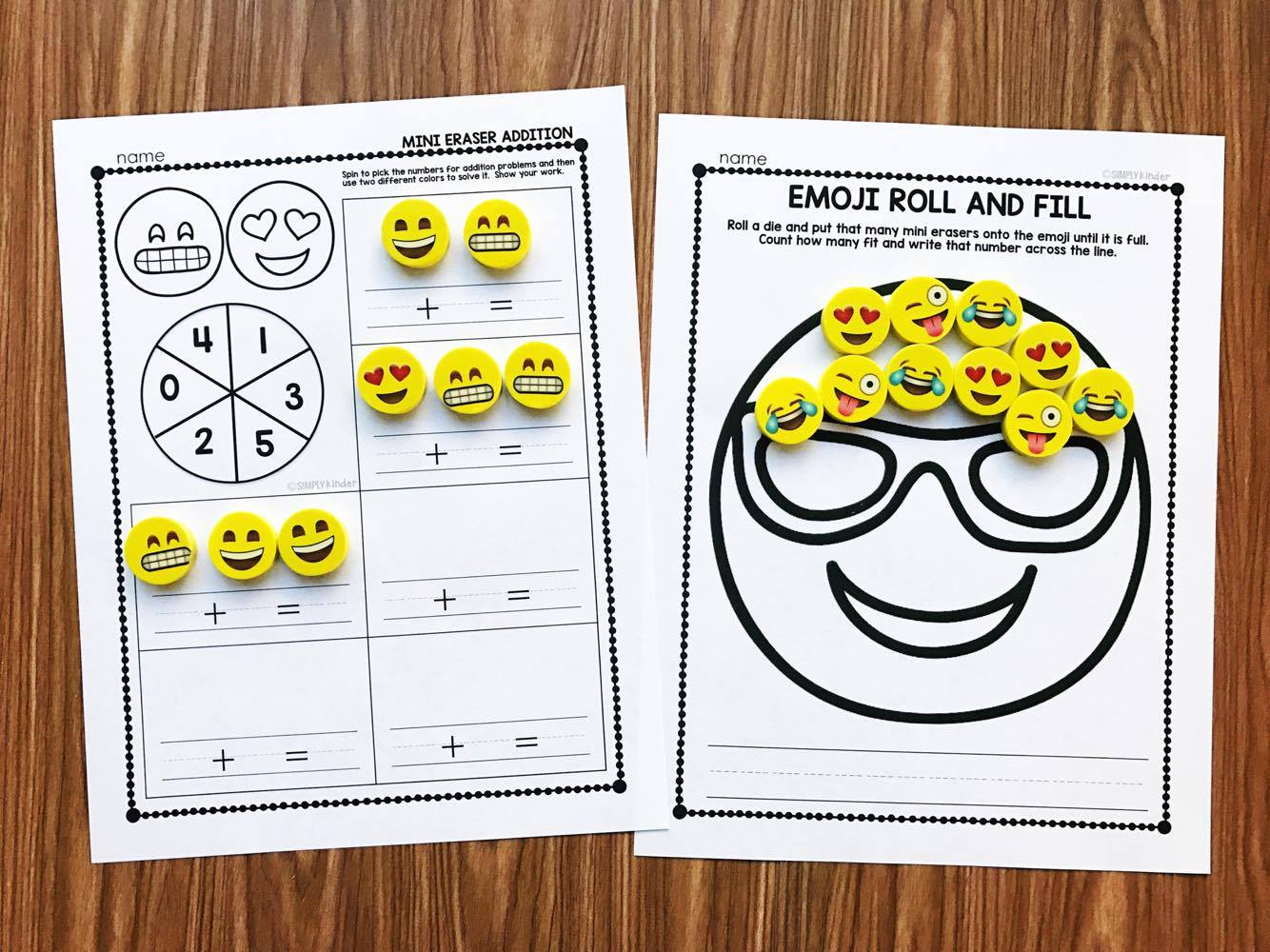 Emoji Mini Eraser Activities from Simply Kinder. These are great for counting, adding, and so much more! Preschool, kindergarten, and first grade all love these activities.