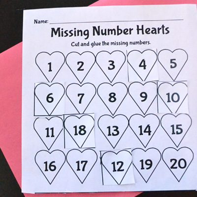 Valentine's Day Math: Missing Number Hearts