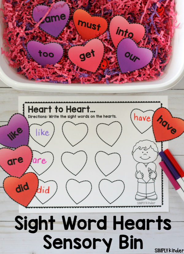 Sight Word Hearts Sensory Bin, Sight Word Activity, Sensory Bin, Valentine's Day Activity