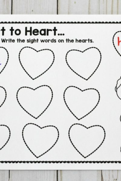Sight Word Hearts Sensory Bin