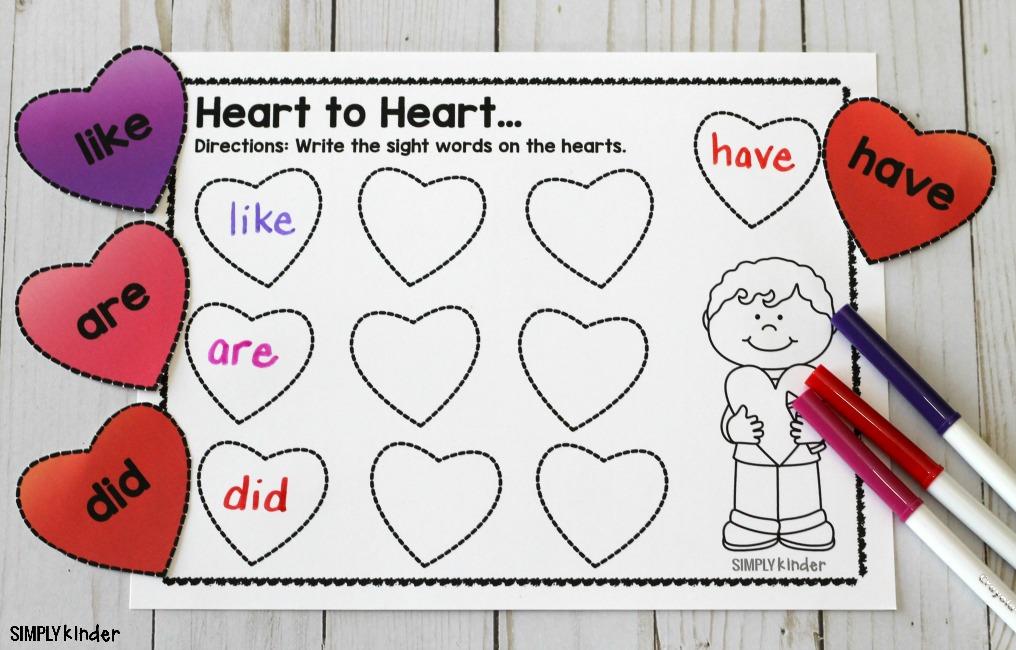 Sight Word Hearts Sensory Bin
