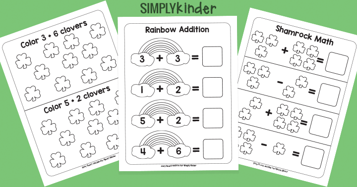 Simple St. Patricks Day Math Printables