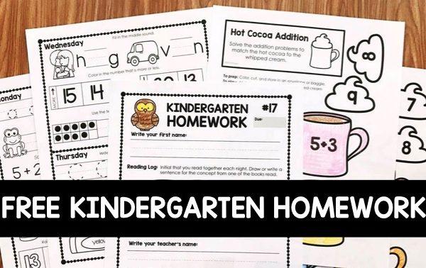 Free Kindergarten Homework
