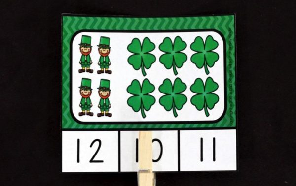St. Patrick's Day Count and Clip Cards