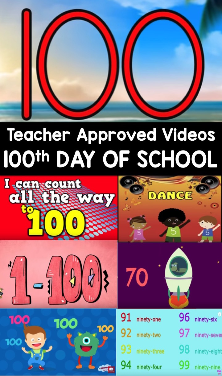 100th Day of School Video List for Kids. This teacher approved list is all about the number 100. Perfect for preschool, kindergarten, and first grades.