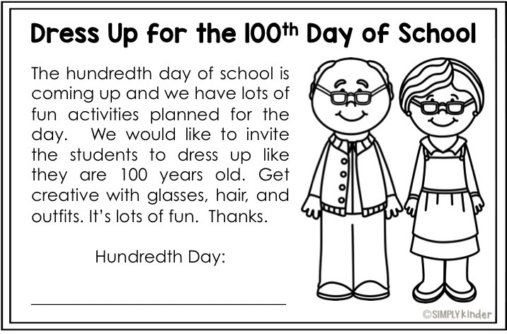 Dress Up for the 100th Day Simply Kinder – 100 Day Math Worksheets