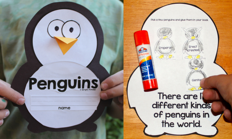 Penguin Book with lots of activities. Has a craft cover and easy print option. Each page has a fact about penguins and an interactive activity to reinforce it. Great for Kindergarten and first grade.