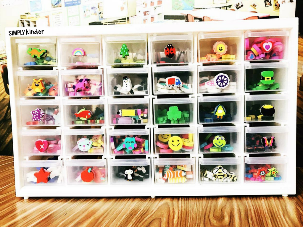 Mini Eraser Storage Solution and activities to use with those fun little math manipulatives.