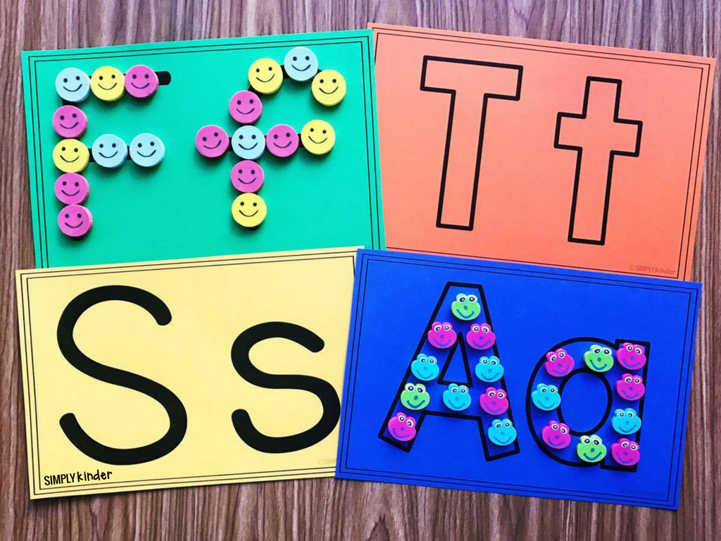 Mini Eraser Alphabet Cards. Print these cards for an easy center to use with mini erasers (from Target or where ever). A great fine motor skill for kindergarten and preschool students.