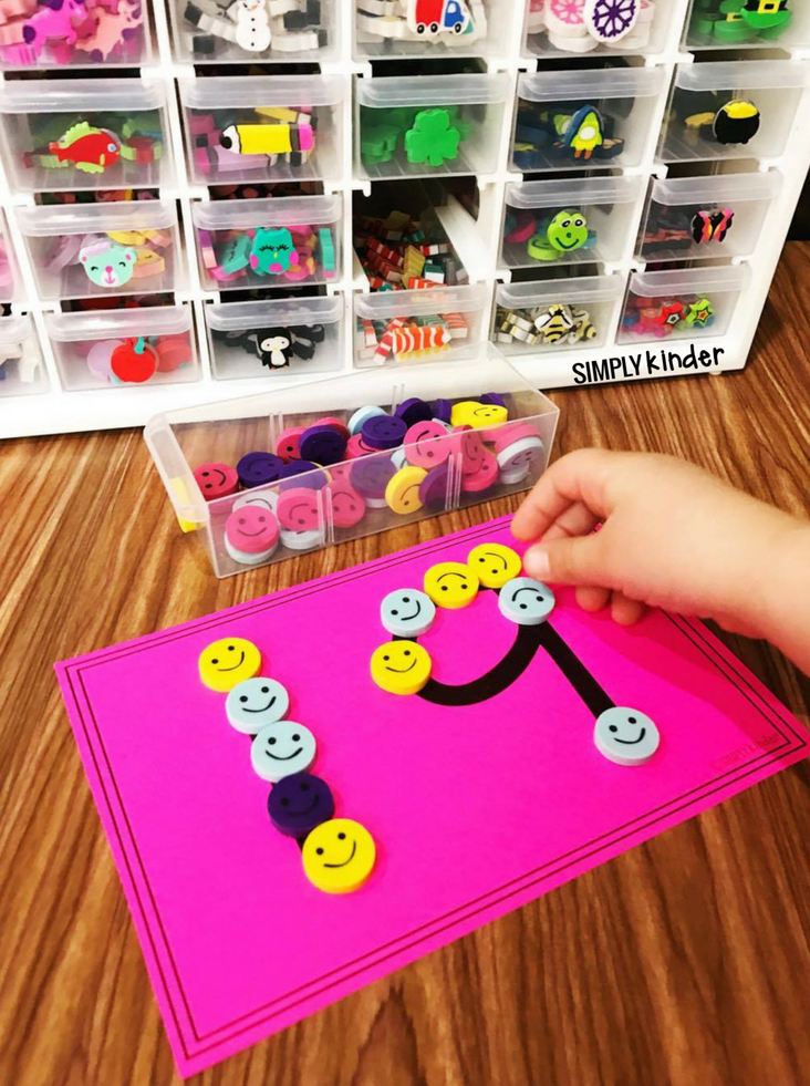 Mini Eraser Number Cards. Print these cards for an easy center to use with mini erasers (from Target or where ever). A great fine motor skill for kindergarten and preschool students.