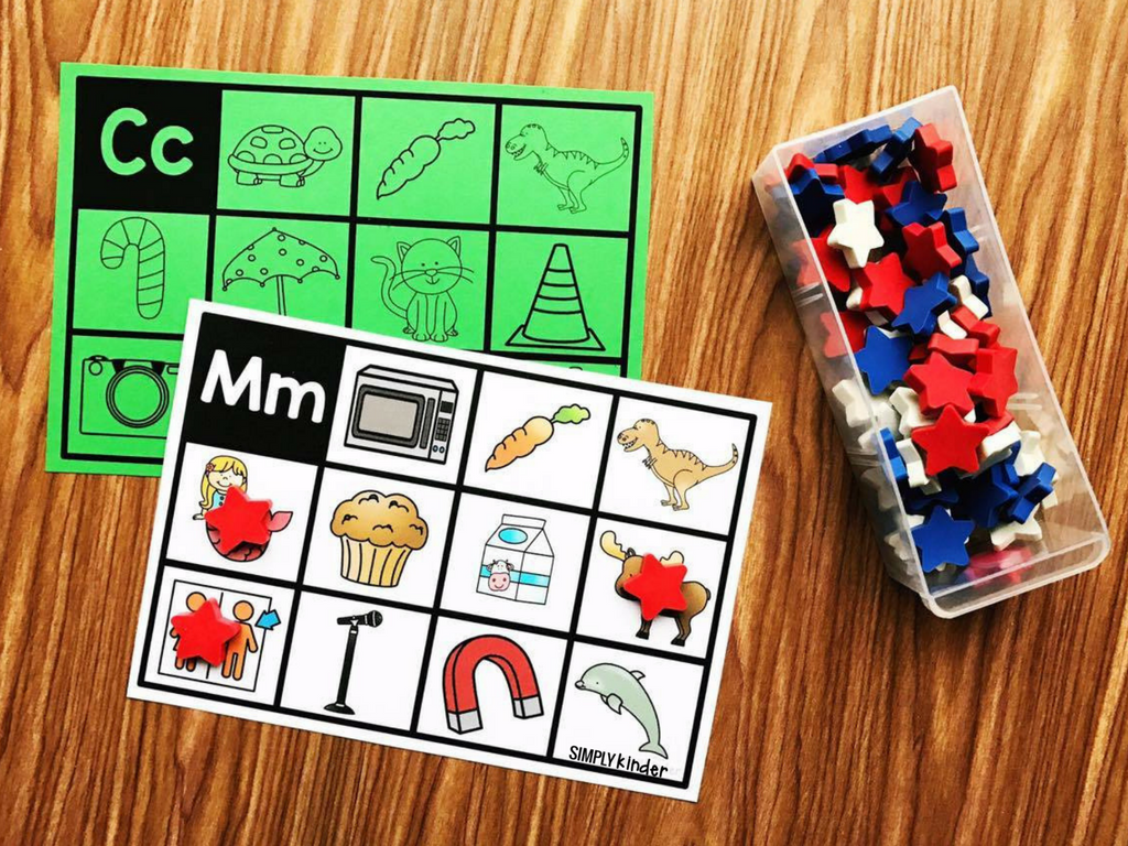 Mini Eraser Activity: Alphabet Mats. Practice your initial sounds by putting mini erasers on the pictures. A perfect reading center for preschool, kindergarten, and first grade.