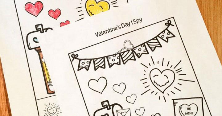 Valentine's Day I Spy Printable Worksheet
