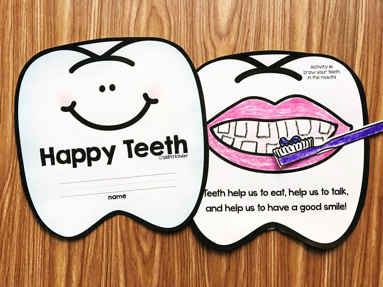 Dental Health Month Book for preschool, kindergarten, and first grades.  Students will read each page and do a fun activity like brush the teeth or sorting out sugary foods.
