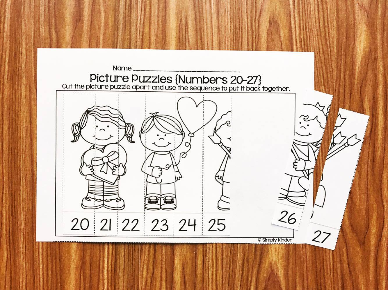 February Picture Puzzles are a fun and challenging activity for your kindergarten and first grade students.
