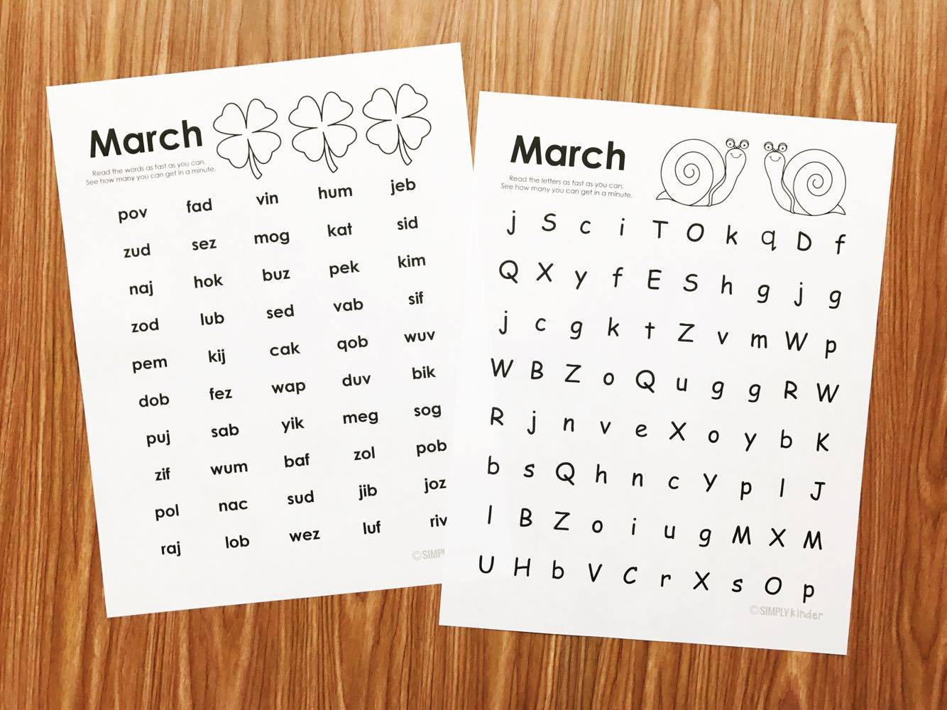Free March Fluency Practice for Kindergarten and first grade.