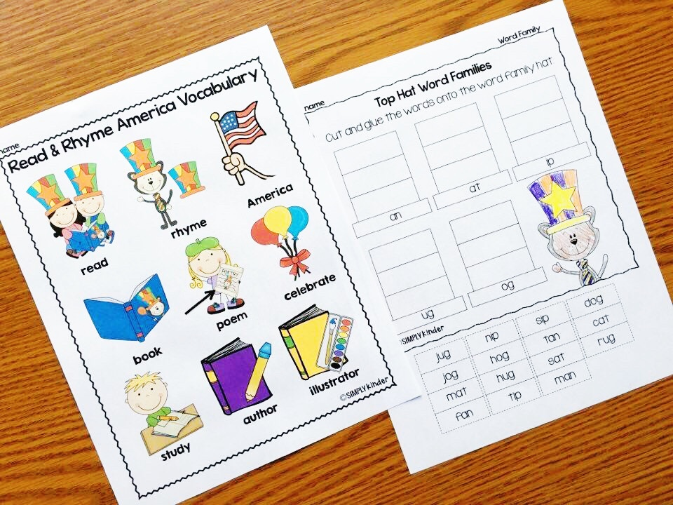 No Prep Read and Rhyme America activities are the perfect activities for your kindergarten and first grade students. Reading nonsense words, vocabulary, numbers to 120, and so much more!