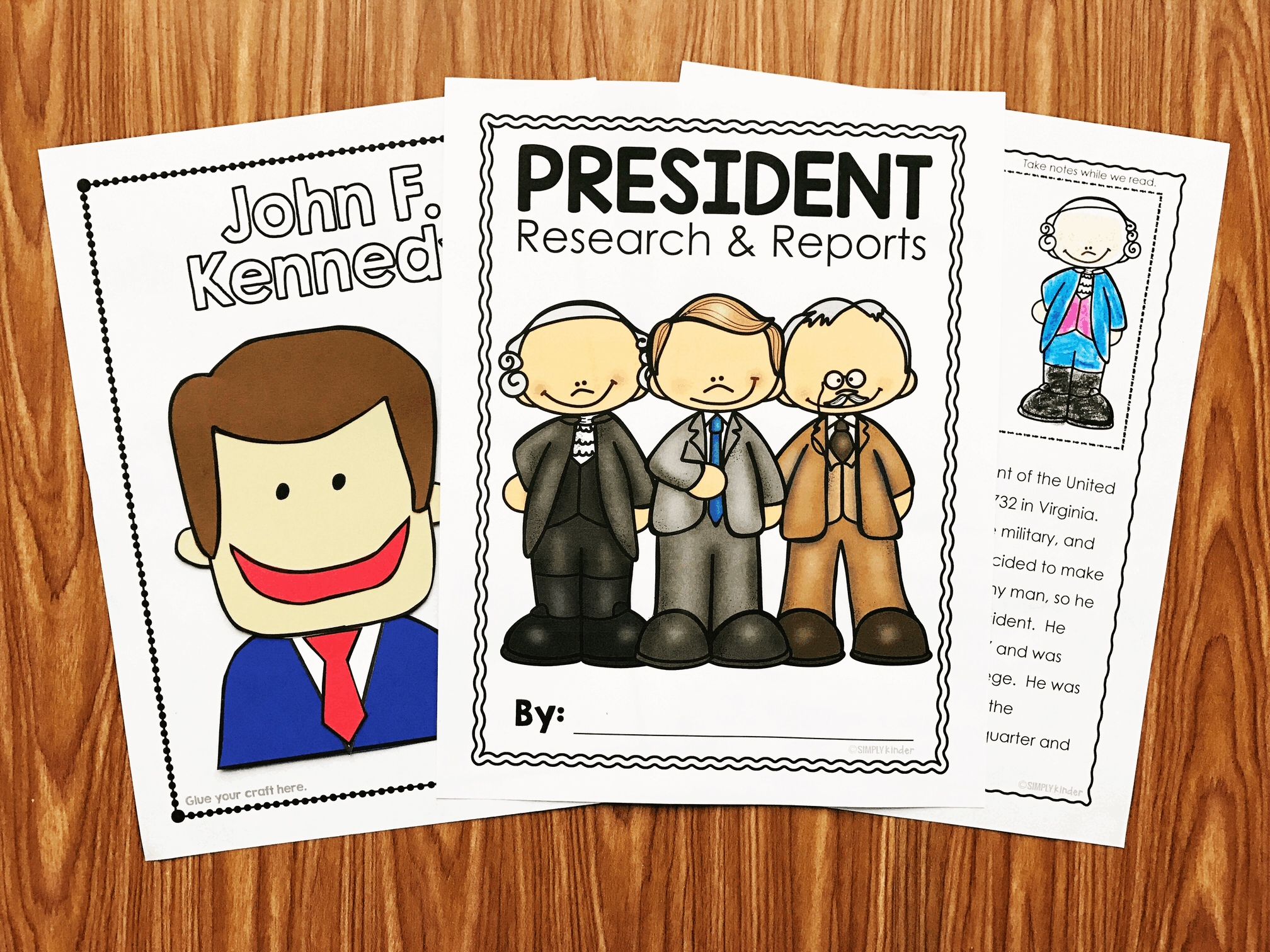President Reports perfect for President's Day in kindergarten, and first grade. Students will listen to close read, plan a report, and write it. Oh - and a cute craft for each president included in the set.