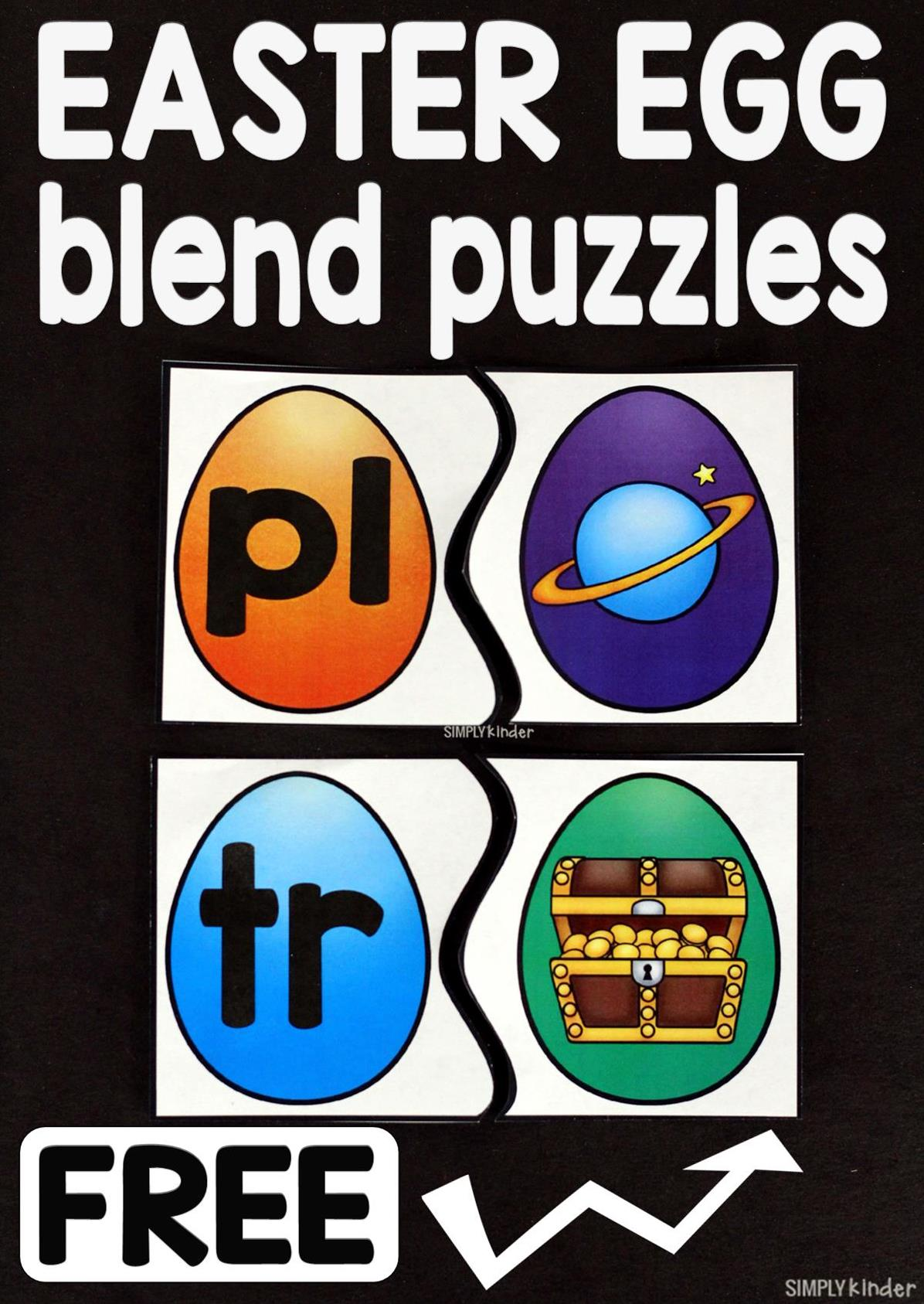 Free Blends Egg Center for kindergarten and first grade students.  This is a fun math center where kids will match the sound to the blend.  Free at Simply Kinder.