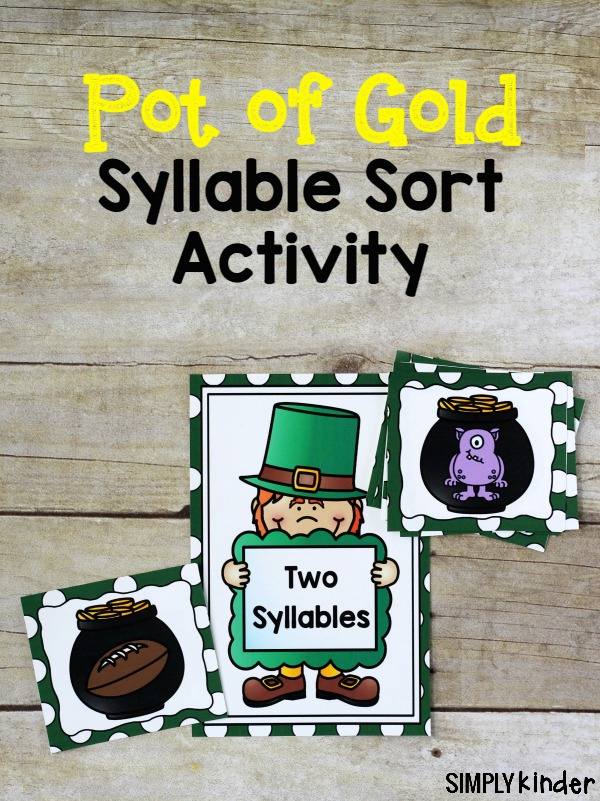 Pot of Gold Syllable Sort Activity, St. Patrick's Day Literacy Center, St. Patrick's Day Syllable Center,