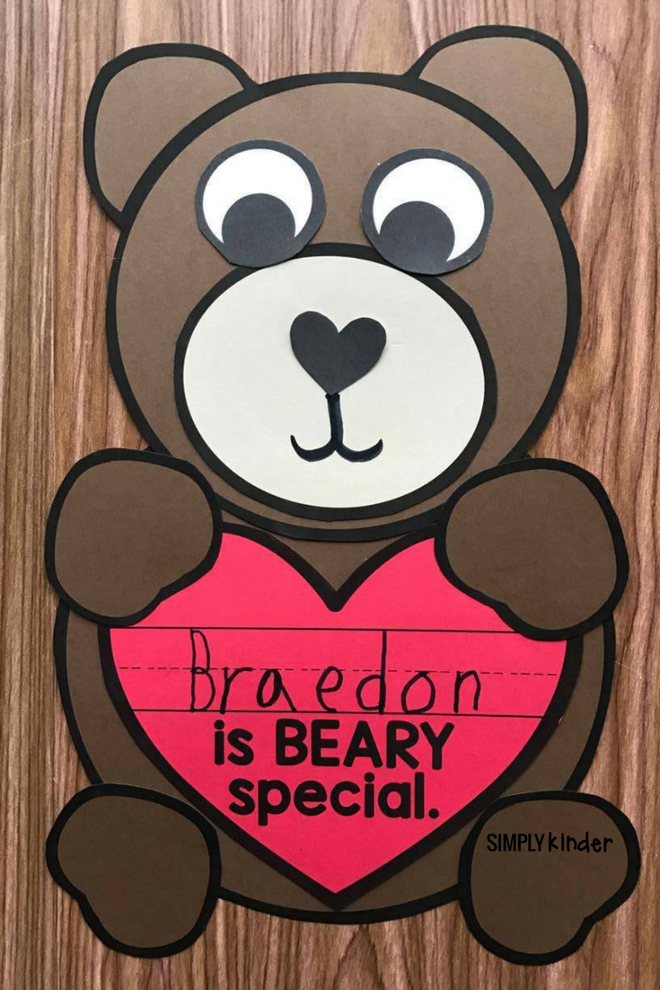 Beary Special Valentines Craft is a perfect standalone for your preschool, kindergarten, and first grade students or makes a great Valentine's Day Bag.