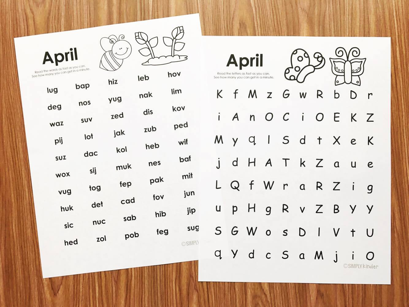 Free April Fluency Practice for Kindergarten and first grade.  Send home as homework, practice in class, or use during centers with your kindergarten students.