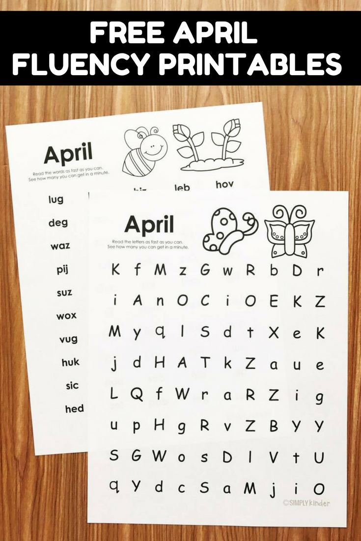 Free April Fluency Practice for Kindergarten and first grade.