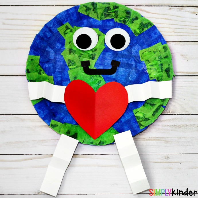 How to make a paper plate earth day craft simply kinder for Where to buy contact paper for crafts