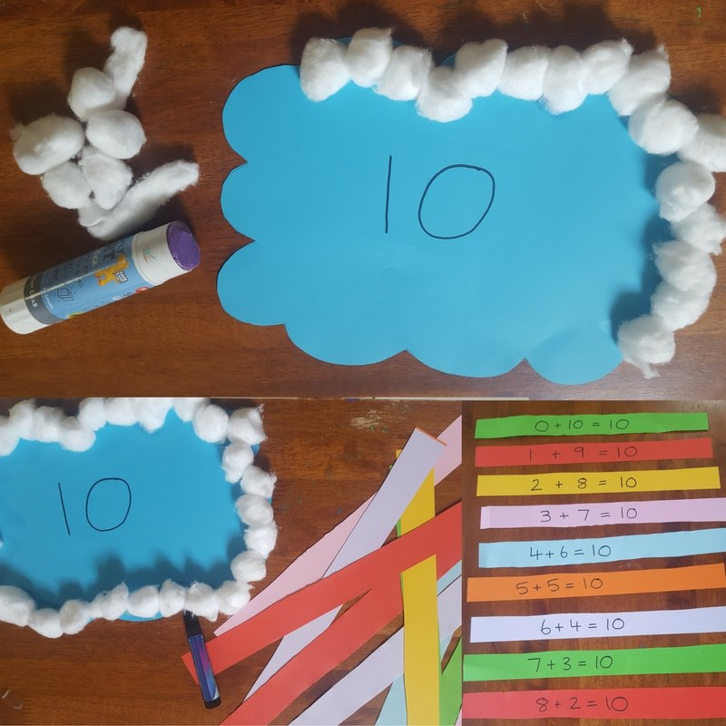 number bonds to ten rainbow craft steps 1