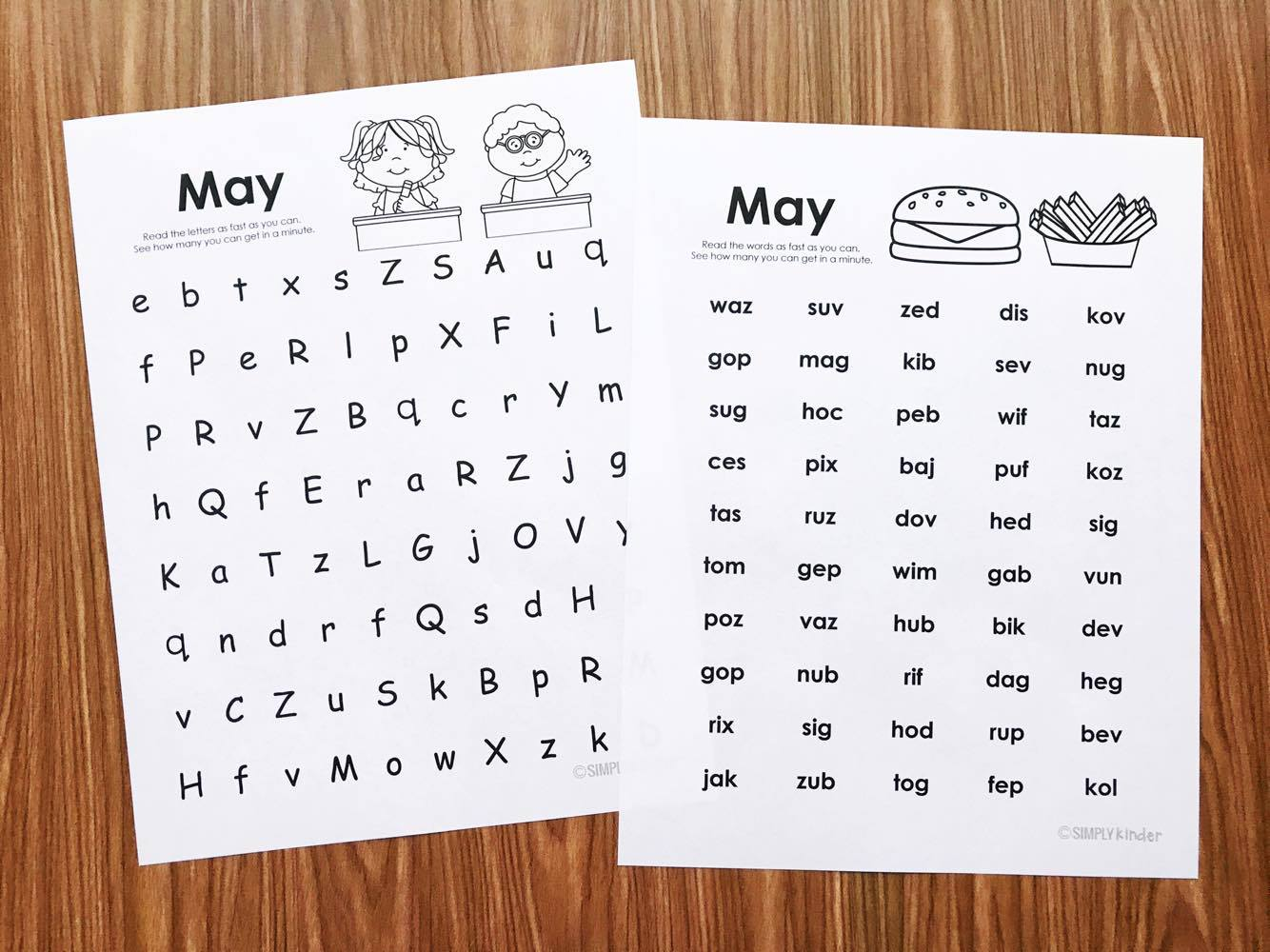 Free fluency printables for kindergarten.  Work on letter naming and nonsense words!