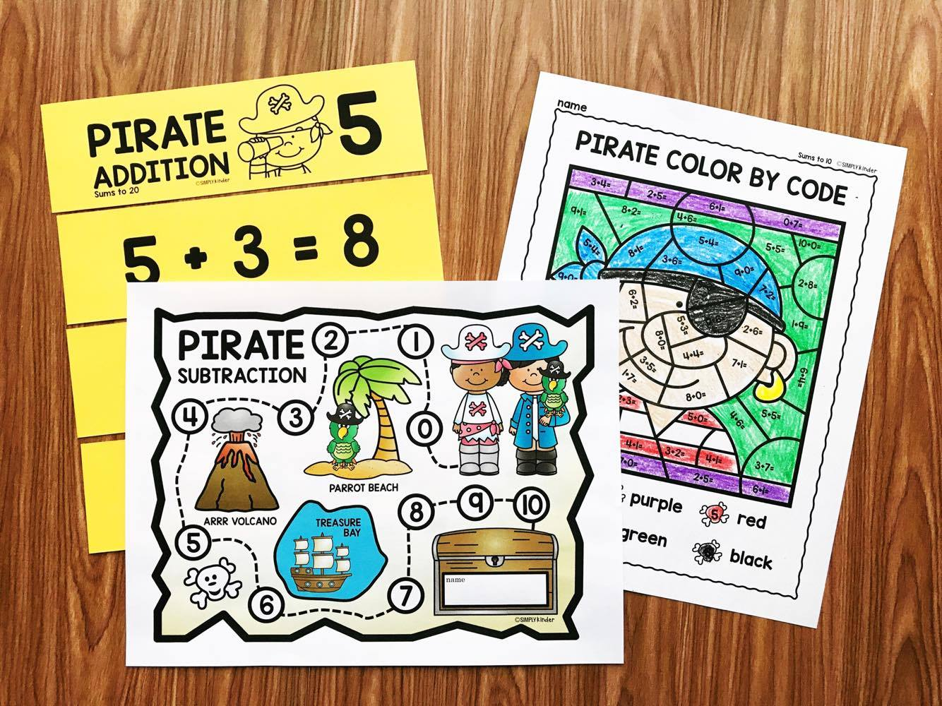 Pirate Math. A fun way to practice addition and subtraction facts from Simply Kinder.