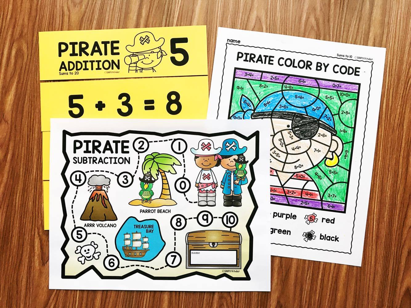 Pirate Math Fluency with Simply Kinder.  Work on your addition and subtraction fluency with these fun pirate themed activities.