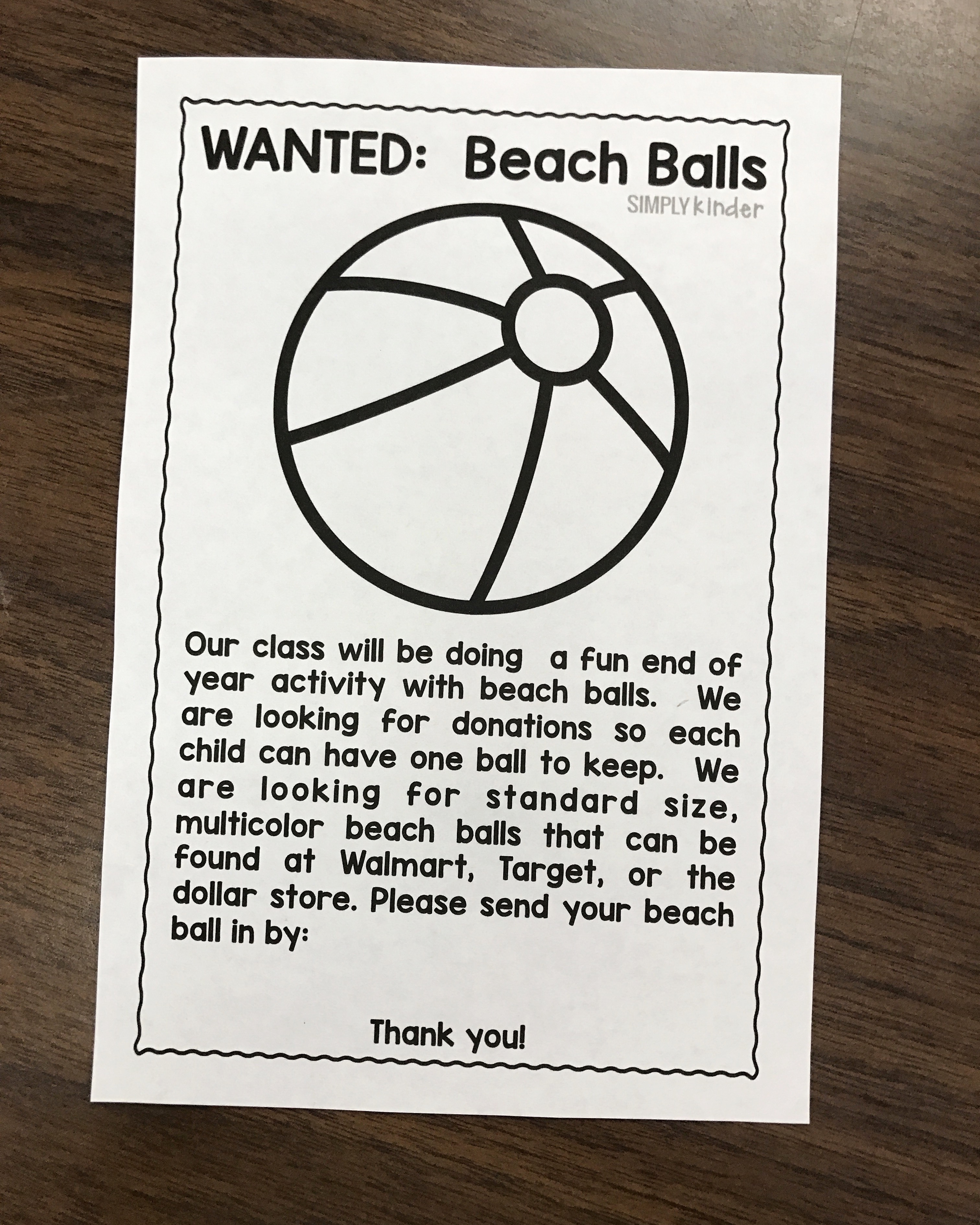 Use this Autograph Beach Ball to make a great keepsake for your students. Download the free flyer to get your class to bring in beach balls.