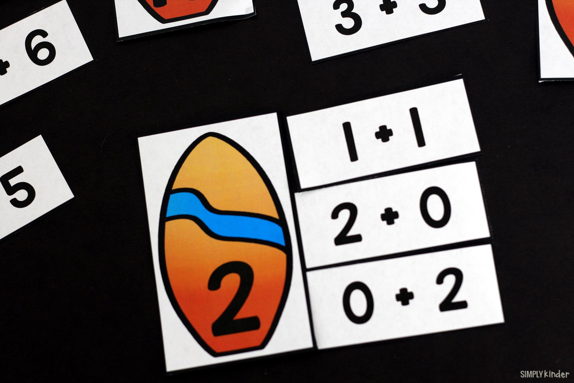 Surf Addition Game for preschool, kindergarten, and first grades. The perfect summer math center free from Simply Kinder.