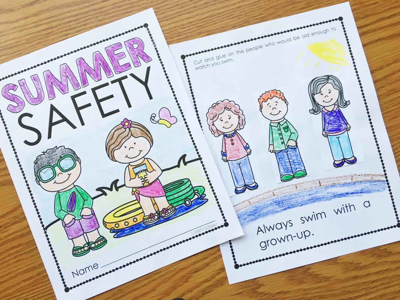 Summer Safety activities from Simply Kinder. Talk about pool safety, staying healthy, and every other random topic that will keep kids safe!