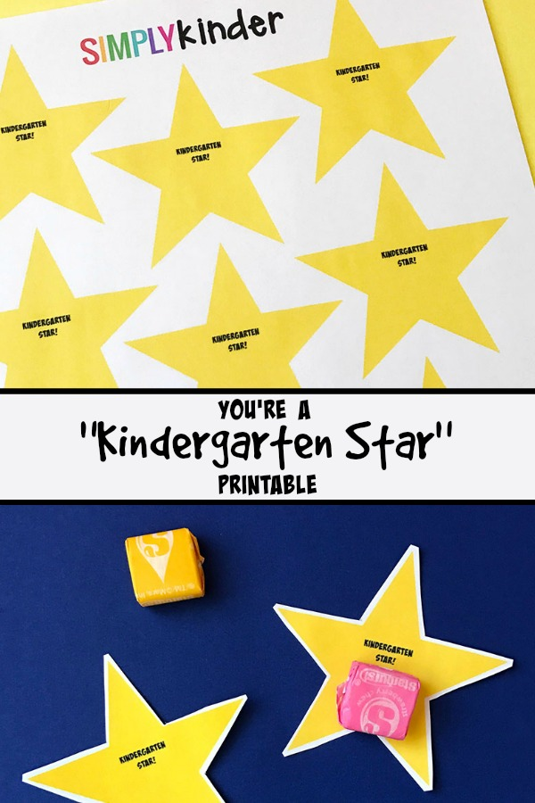 Free prinatble for the classroom. You're a Kindergarten Star printables for back to school or the end of the year treats.
