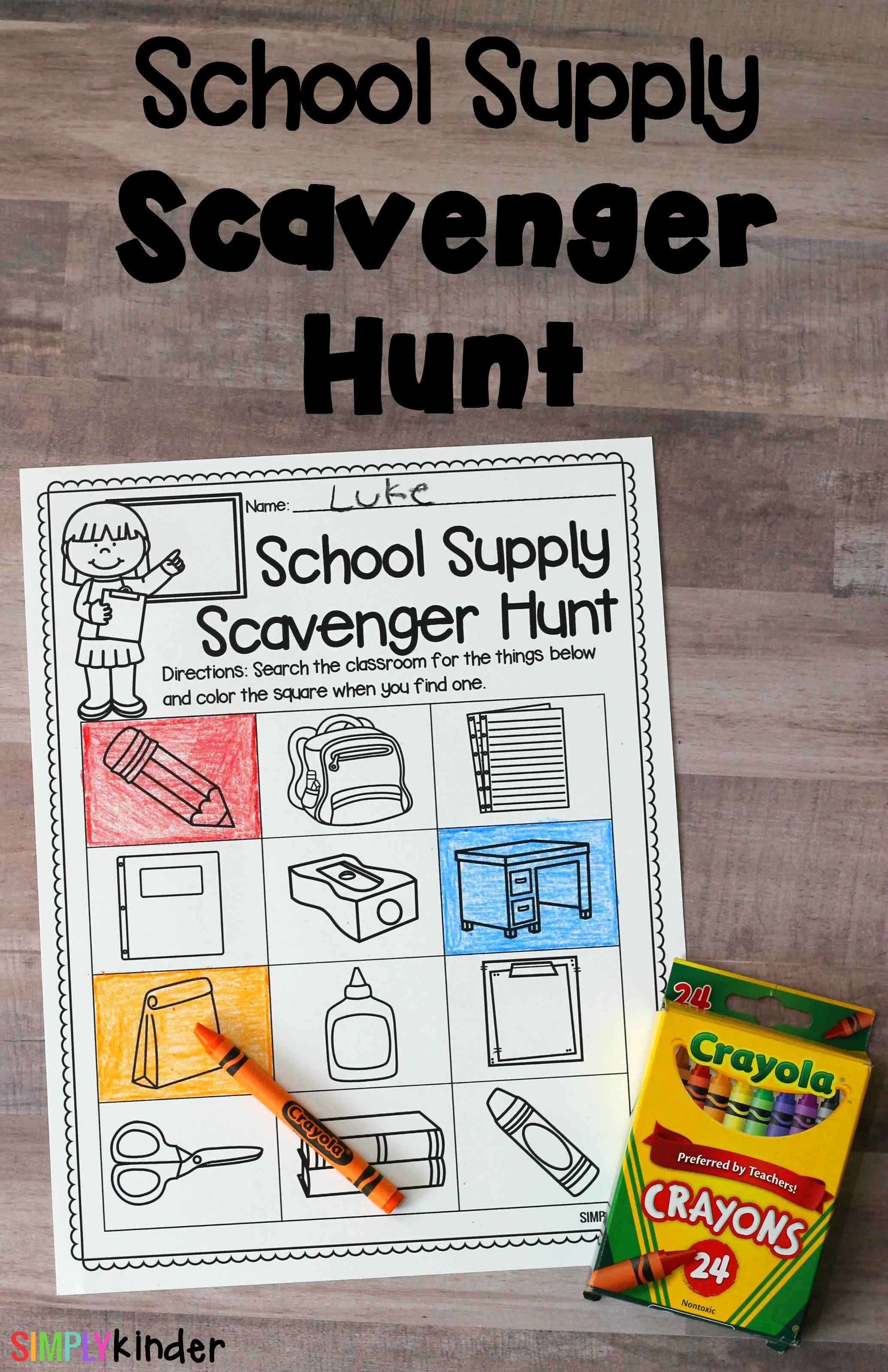 school supply scavenger hunt, back to school activity, first day of school activity, back to school scavenger hunt