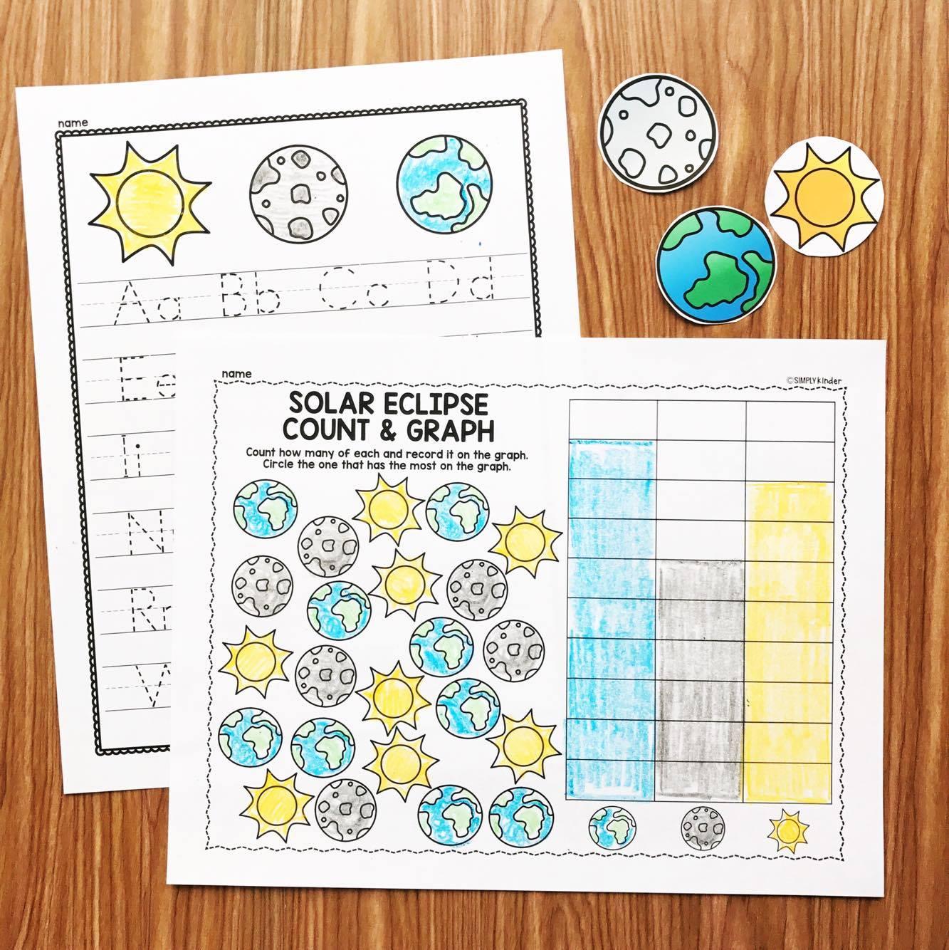 Eclipse activities for preschool, kindergarten, and first grade from Simply Kinder!