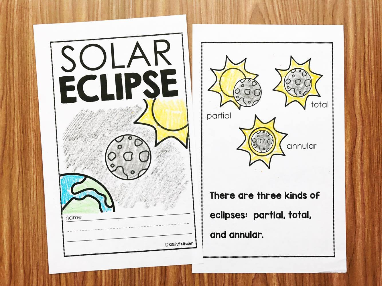 Solar Eclipse Book for Kids from Simply Kinder!