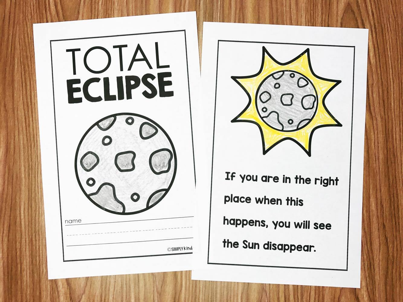Total Eclipse Activities for Kindergarten and a teacher approved video list all about eclipses!