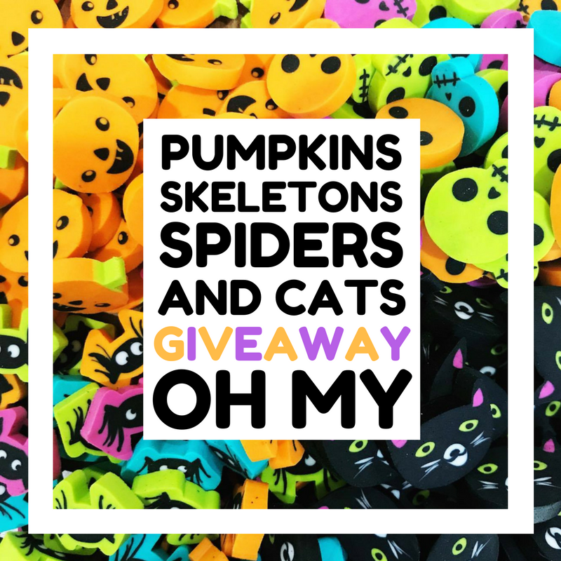 Win one of 10 sets of mini erasers - pumpkins, bats, skeletons, and spiders! Mini Eraser Giveaway