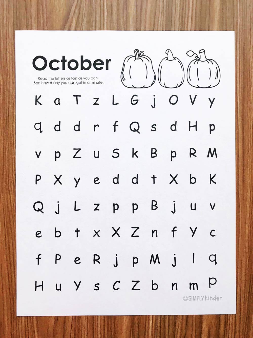 Free letter naming fluency practice pages from Simply Kinder. (September edition).