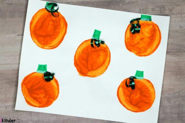 Potato Stamped Pumpkin Patch Process Art Craft