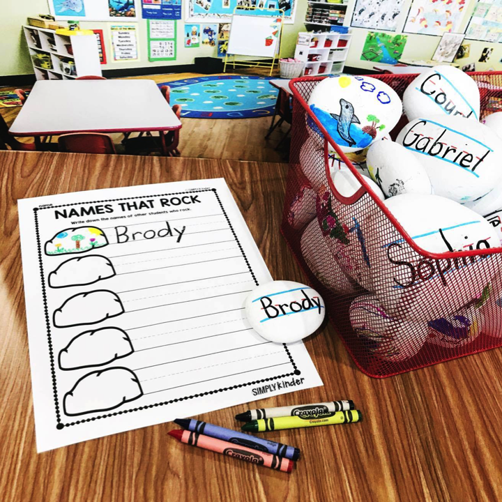 Name Rocks - Make these fun name rocks for your students to use in a writing center! Students will have a perfect model of who to write their name on one side and can illustrate the other side! Simply Kinder shares how we made them, what we learned doing them with first graders, and free printables to use them in centers!