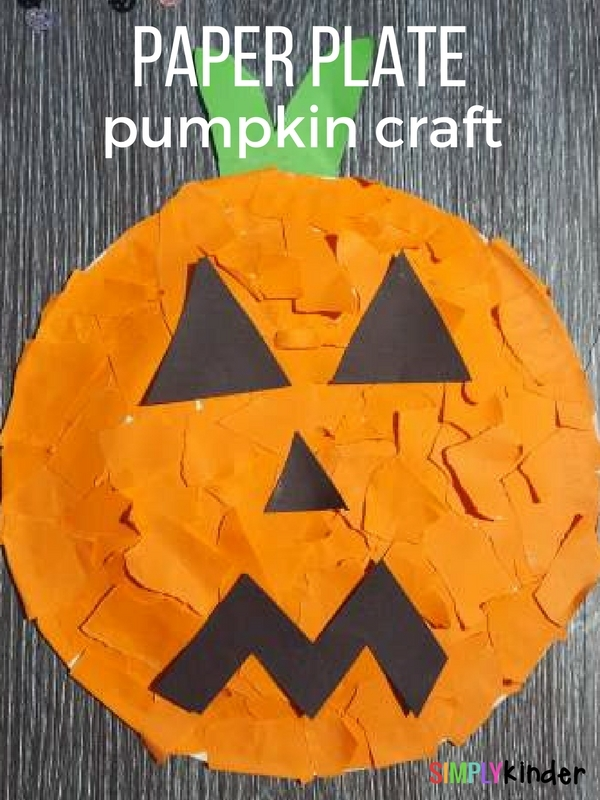 paper plate kinder pumpkin craft for Halloween