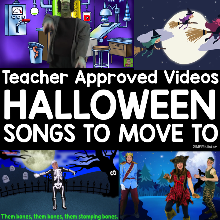 Halloween Teacher Approved Videos. Here is a list of great movement songs for kids get those Halloween Wiggles out! All teacher approved by Simply Kinder.