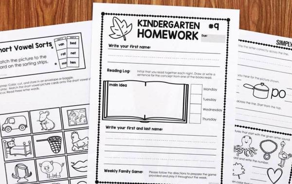 Second Quarter Kindergarten Homework